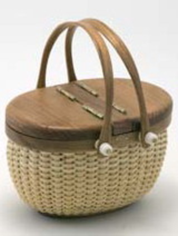 "Our miniature Nantucket Picnic Basket has a base, rim, lid and handles crafted from beautiful cherry wood.  5"" L x 3 1/4"" W x 3 1/4"" H Imported"