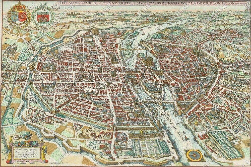 HUGE VINTAGE historical PLAN PARIS FRANCE 1652 OLD ANTIQUE STYLE MAP art print