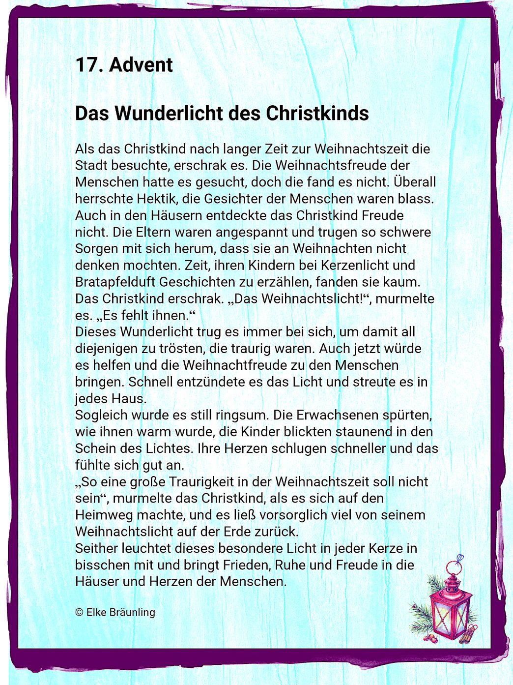 Das Wunderlicht des Christkinds - 17. Advent | Winterzeit