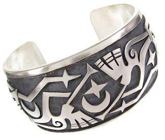 Kokopelli Hopi Indian Silver Cuff Bracelet Jewelry