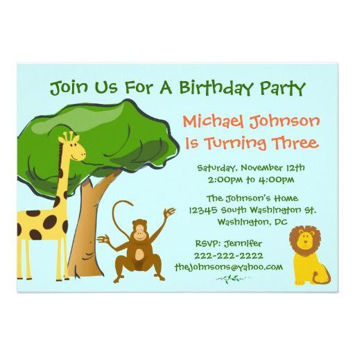 Cute safari jungle zoo animals kids birthday party card party cute safari jungle zoo animals kids birthday party 5x7 paper invitation card stopboris Image collections