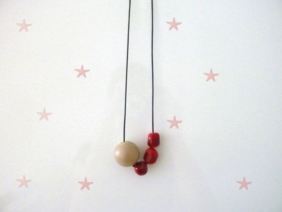 Coral Large Necklace  Gemstone  Wood  Big Bead  Coral  by Mimok