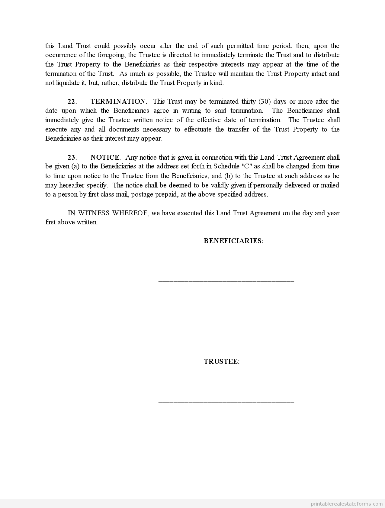 Printable Land Trust Agreement Template 2015 Sample Forms 2015