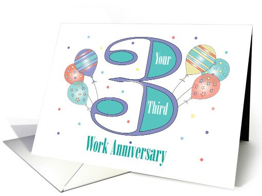 Employee year work anniversary balloons purple card
