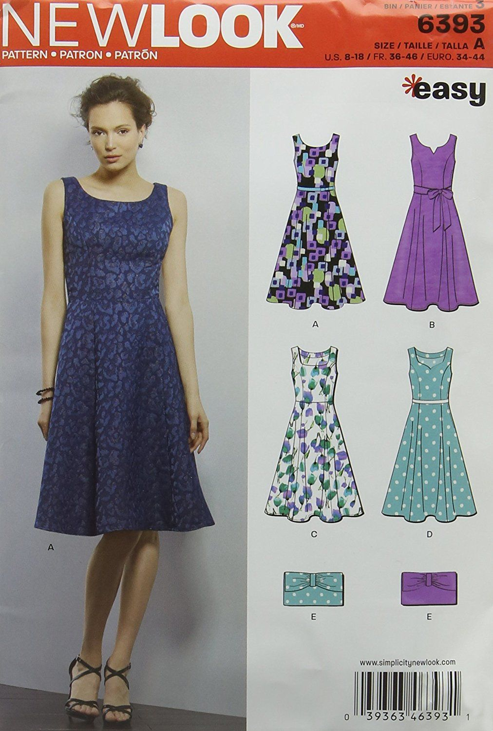 New Look 6393 Size A Misses' Easy Dress and Purse Sewing