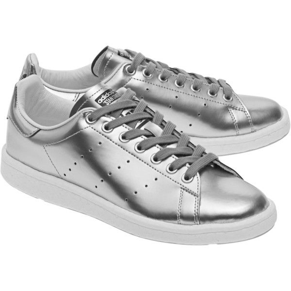 ADIDAS ORIGINALS Stan Smith Boost Silver // Metallic sneakers (€129) ❤ liked on Polyvore featuring shoes, sneakers, perforated sneakers, shiny shoes, tennis shoes, metallic silver sneakers and silver sneakers