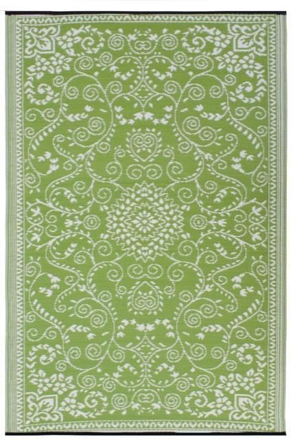 INDOOR OUTDOOR RUG LIME GREEN & CREAM SCROLL DAMASK, RECYCLED, EARTH FRIENDLY