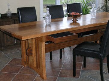 Innovative Woodworking Co. Dining Table with Drawers ...