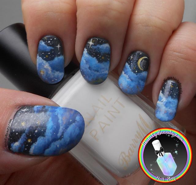 Freehand Starry Nights Sky Nail Art Unghiii Pinterest Sky