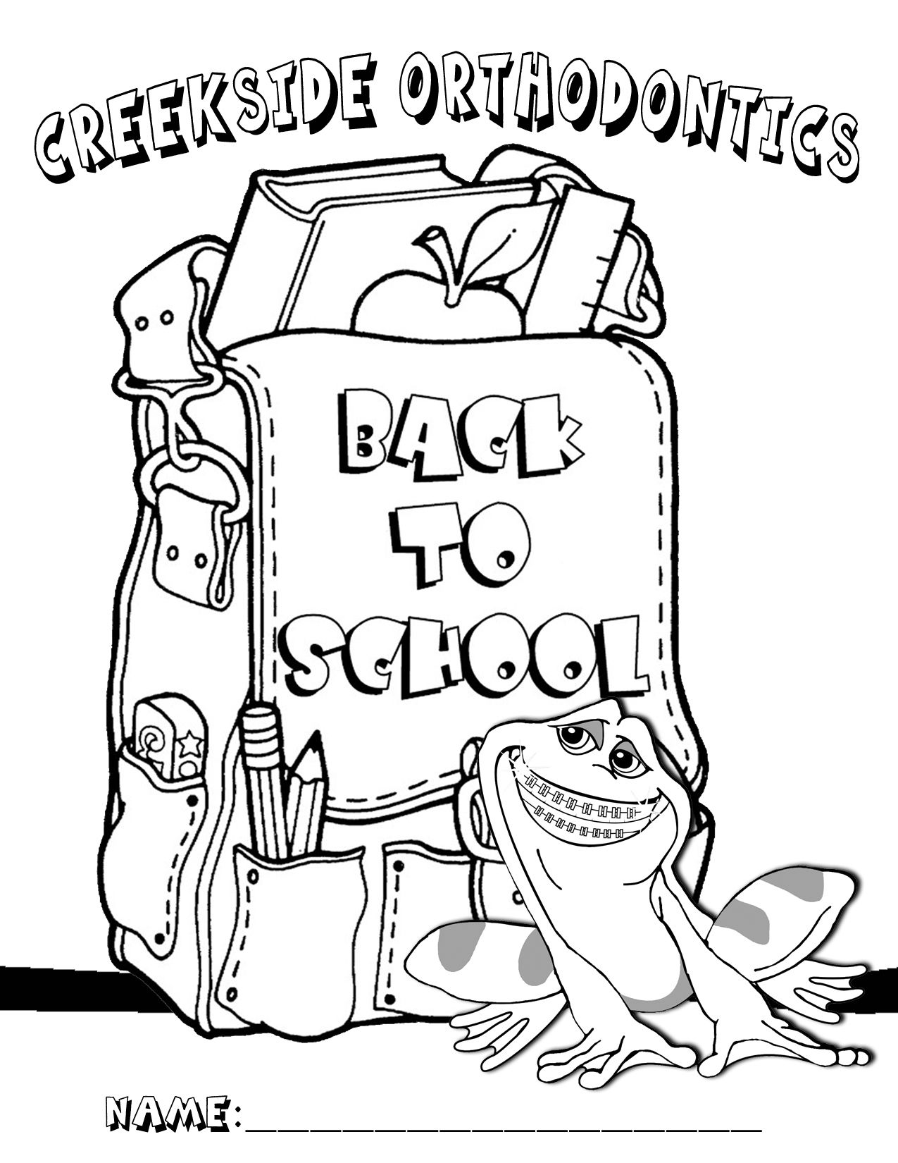 Creekside Orthodontics Coloring Pages School Preschool School