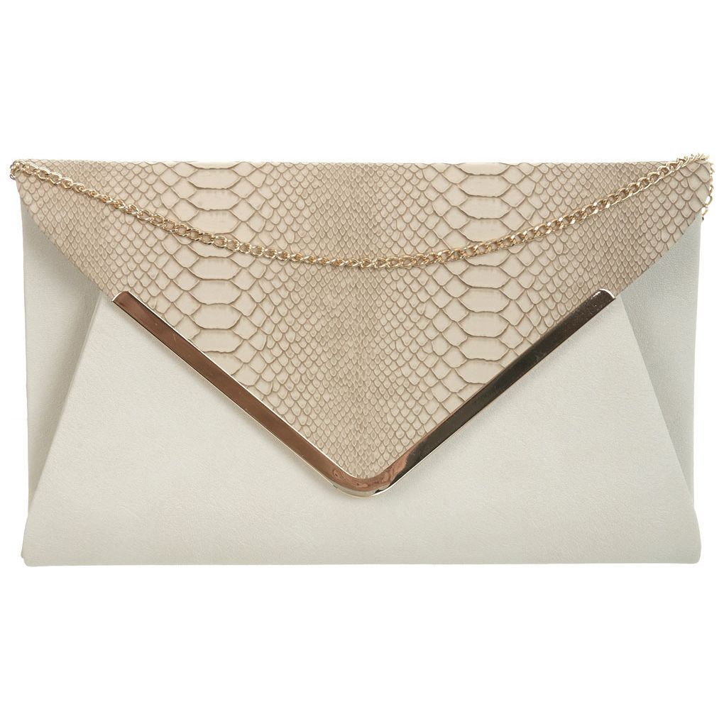 Faux snake front clutch, Miss Selfridge