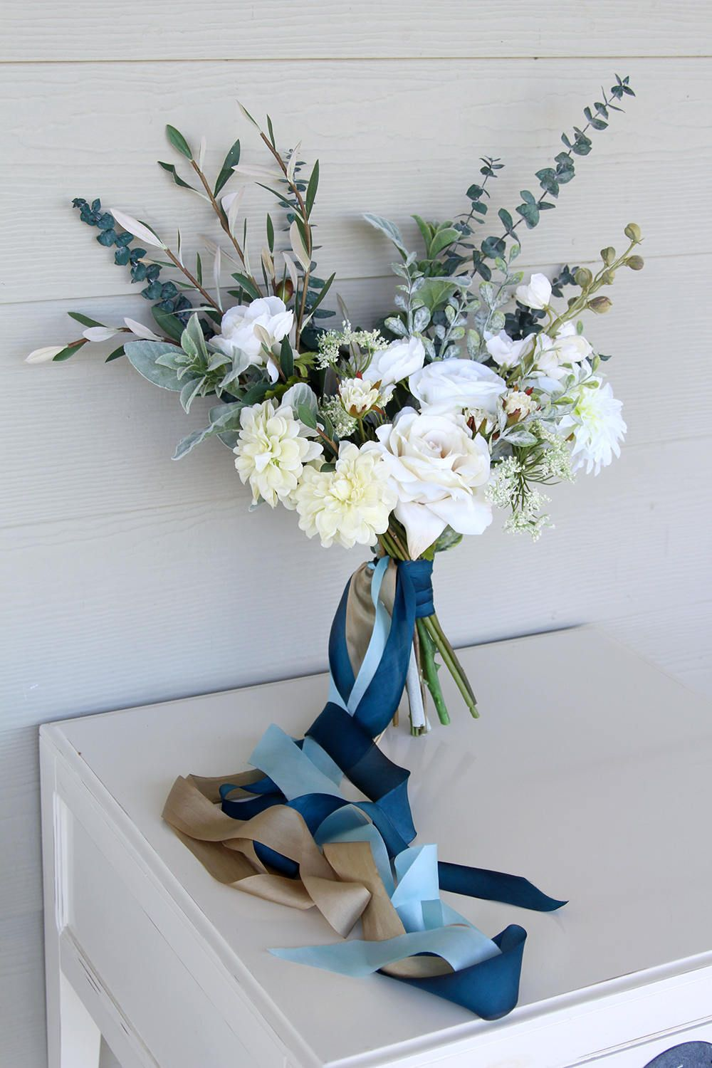 Something blue eucalyptus and silk flower wedding bouquet blue something blue eucalyptus and silk flower wedding bouquet blue bridal bouquet izmirmasajfo