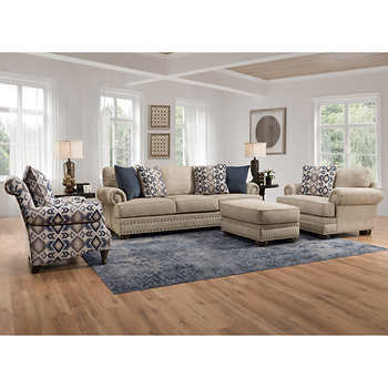 Ashford 4 Piece Fabric Set Living Room Colors Chenille Sofa
