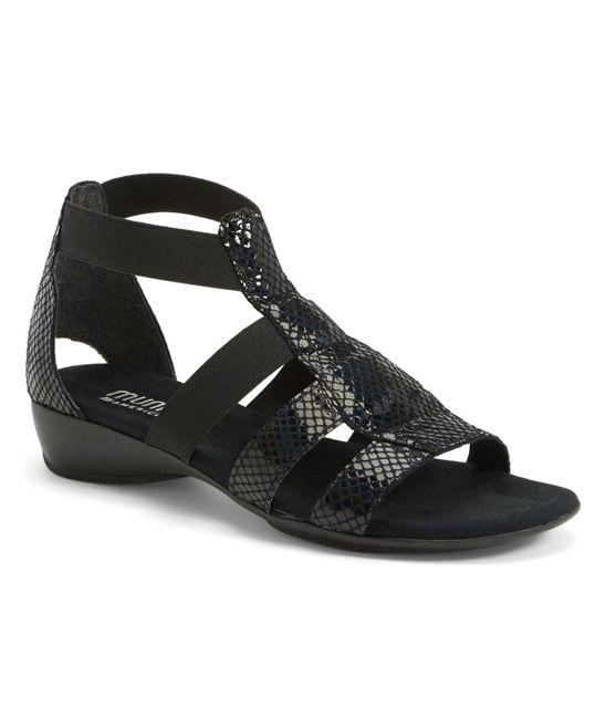 Black Petrol Zena Strappy Leather Sandal