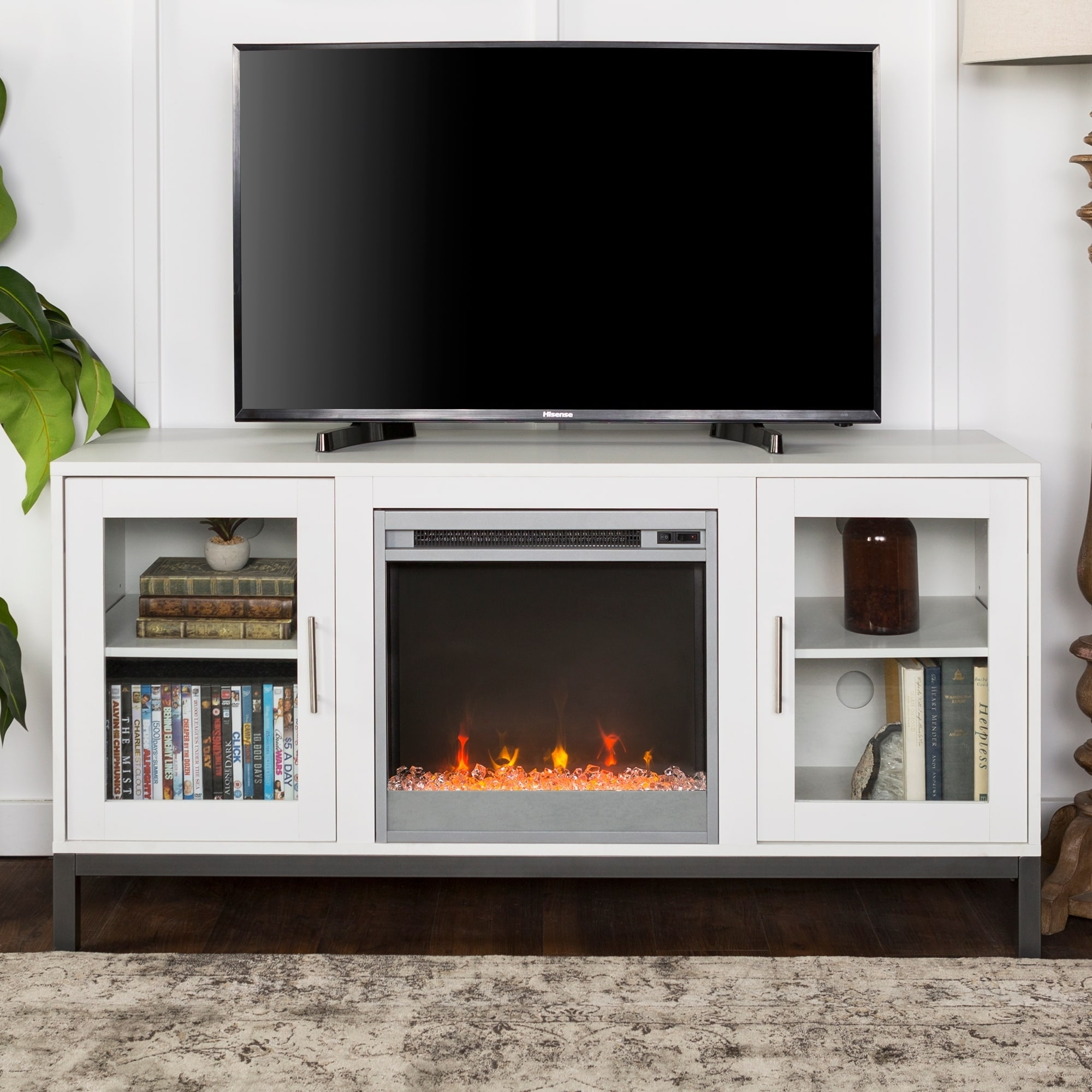 52 Fireplace Tv Stand Console With Metal Base 52 X 16 X 26h