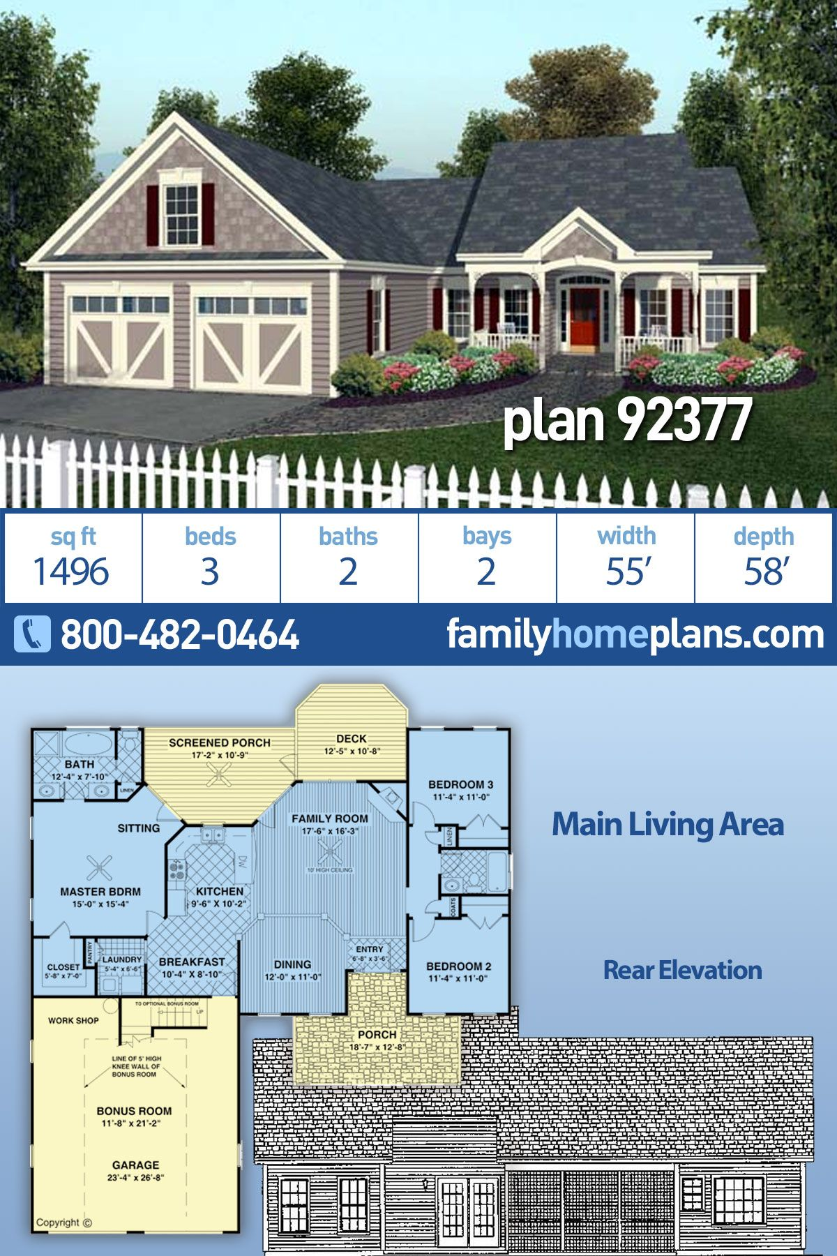 Traditional Style House Plan 92377 With 3 Bed 2 Bath 2 Car Garage Country Cottage House Plans Cottage House Plans House Plans