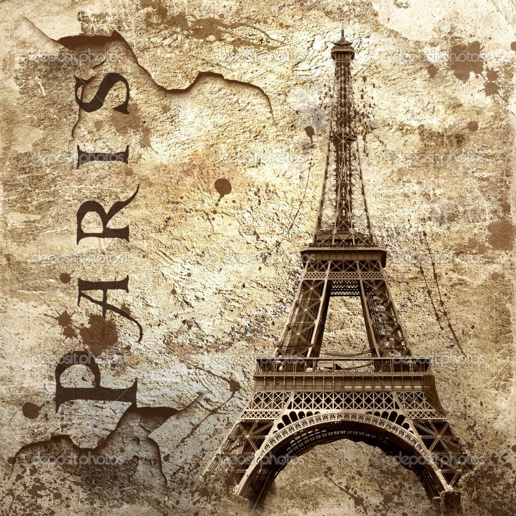 paris art | Vintage view of Paris on the grunge background | Stock ...