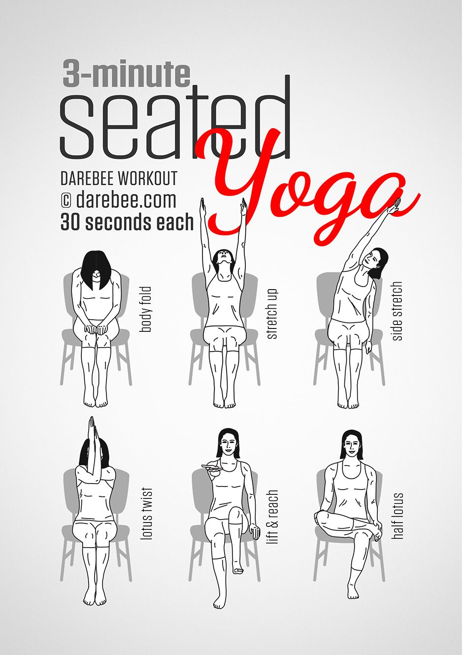 seated yoga workout. nice short routine for the chair! gaileee