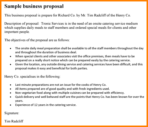 Business Proposal Format Samplesmple Proposalg Caption Sample