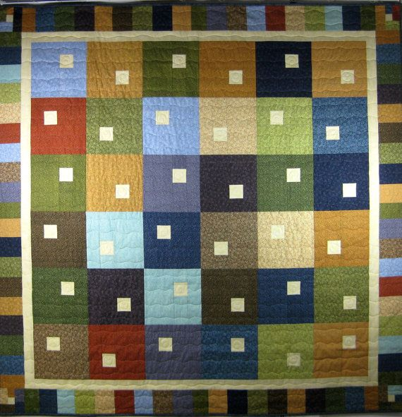 Quilted Modern Patchwork Lap Quilt Cottage Chic by SallyManke ... : quilting cottage - Adamdwight.com