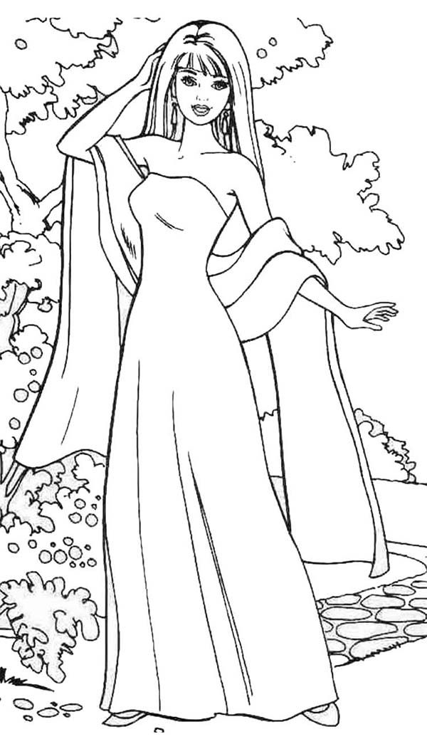 Barbie Doll Wear Gown And Scarf Coloring Page Barbie Coloring