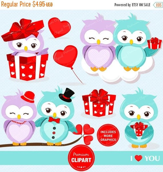Valentine's Day Owl Clipart | Pre-Designed Photoshop Graphics ~ Creative  Market