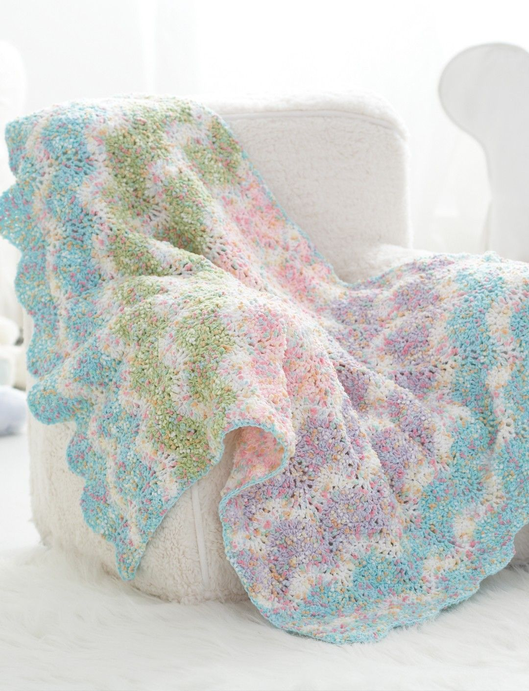 Yarnspirations bernatchevronstripesbabyblanket extra sweet this charming baby blanket is the perfect gift for the little guy or gal in your life the sweet pastel waves crochet baby blanket pattern is a bankloansurffo Gallery