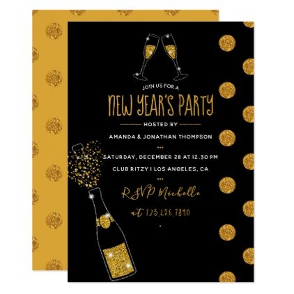 Gold Glitter Champagne New Year's Party Invitation - new ...