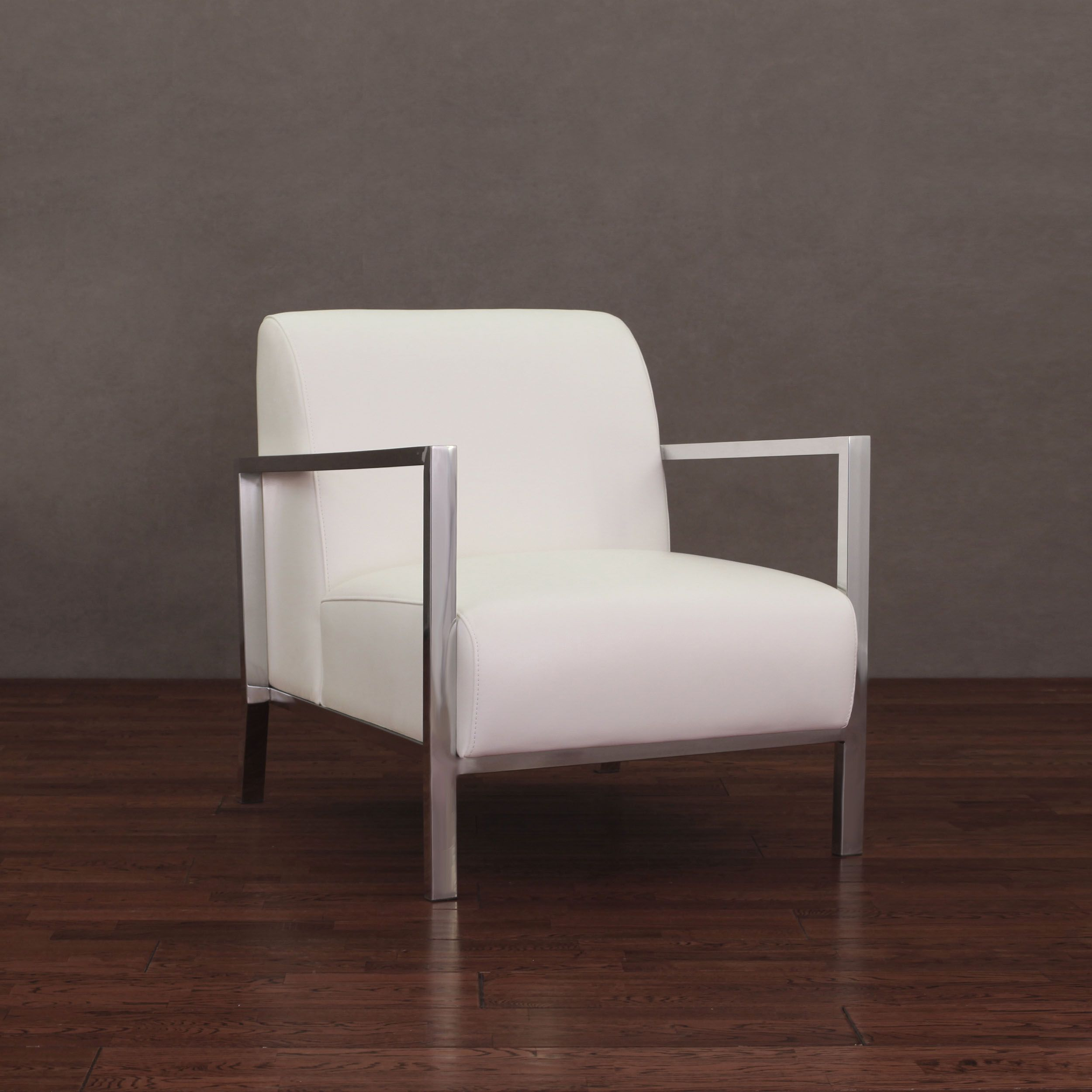 Modena Modern White Leather Accent Chair Ivory Cream Chrome