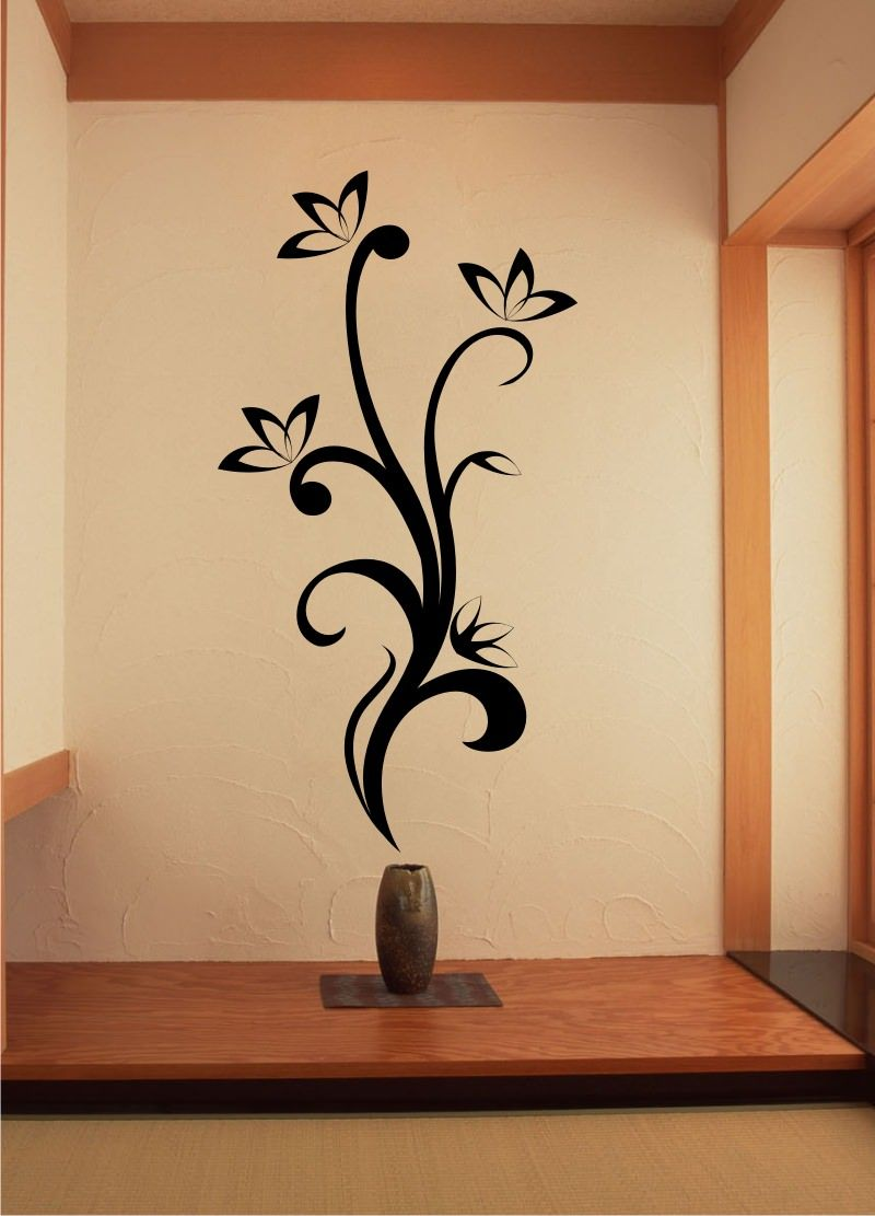Stickonmania Com Vinyl Wall Decals Plant Vine With Flowers 7