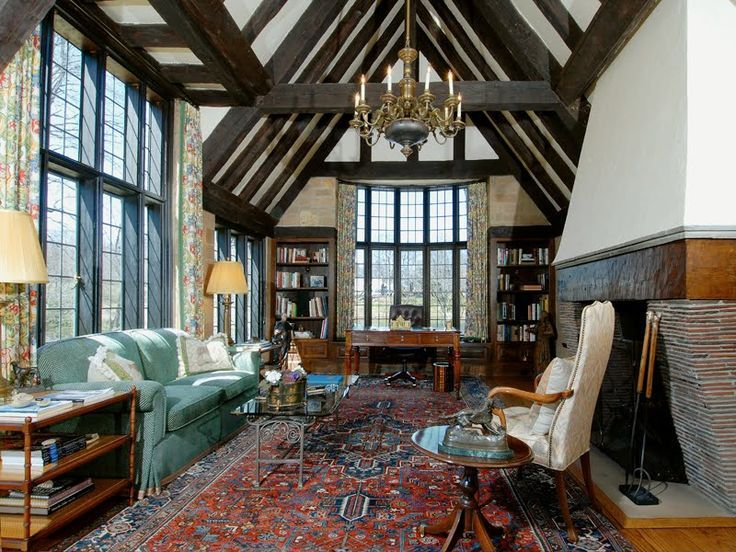 English tudor living room tudor style house homes for Tudor style fireplace