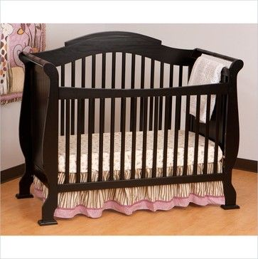 Stork Craft Valentia 4-in-1 Fixed Side Convertible Crib in Black ...