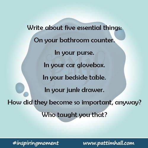 Image Gallery Website Write about five essential things On your bathroom counter In your purse In