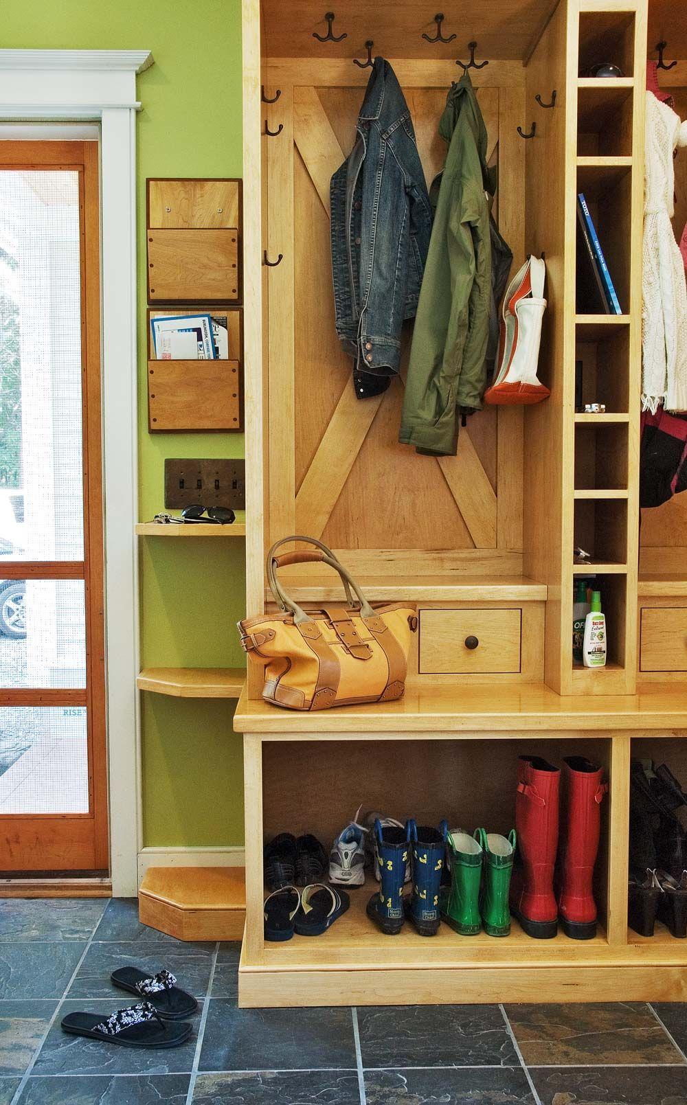 Mudroom lockers - Love the barn door look and boot space