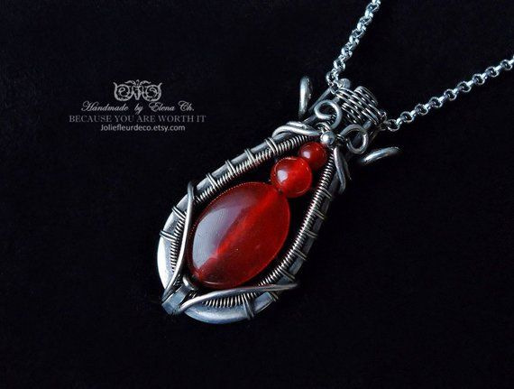 Photo of Items similar to Red Jade pendant Sterling silver necklace Silver pendant Wire wrap jewelry Heady wire wrapped Pendant Boho Wirework Jewelry Amulet for women on Etsy