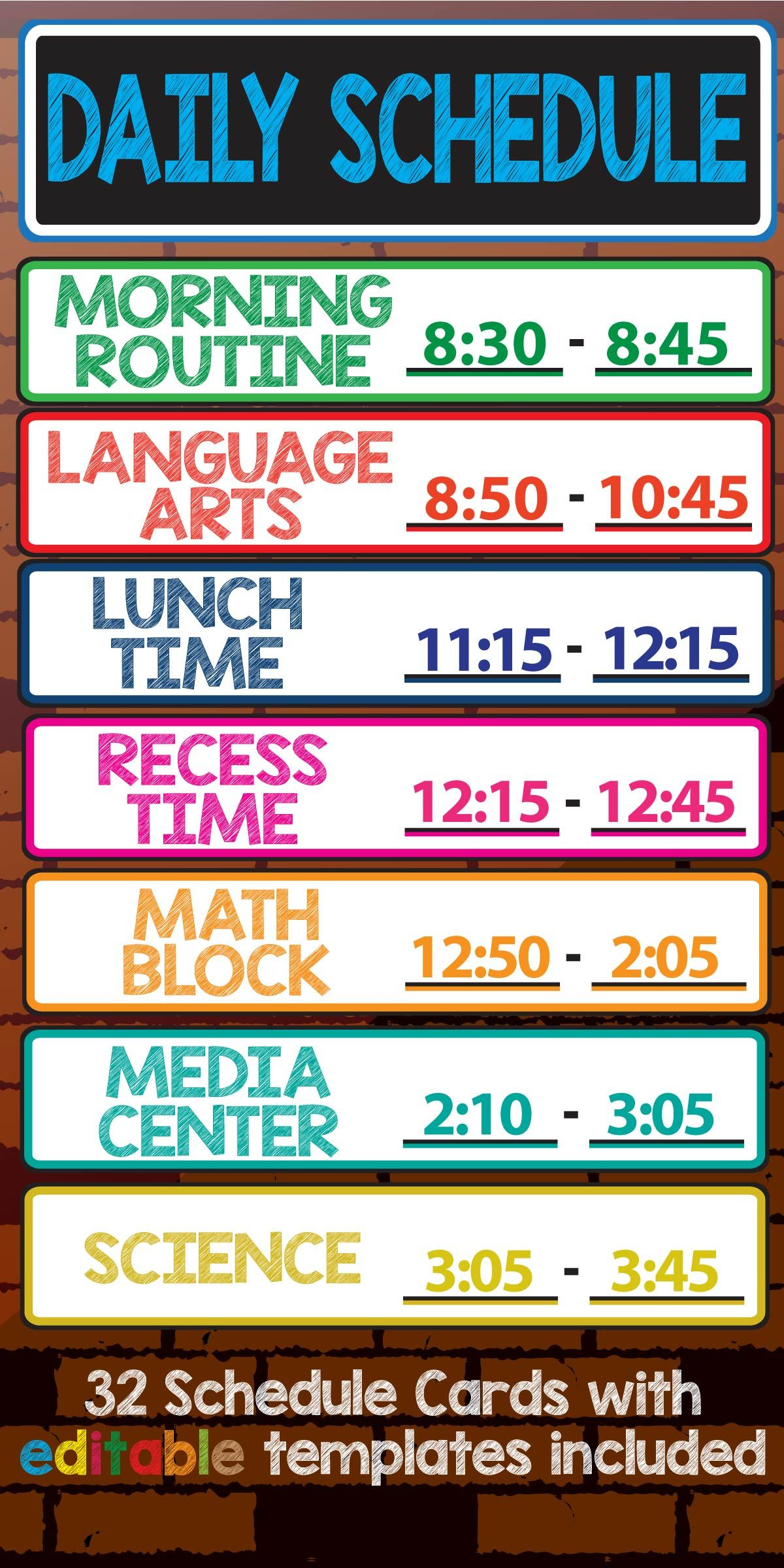 Daily Schedule Cards Editable Names Amp Times