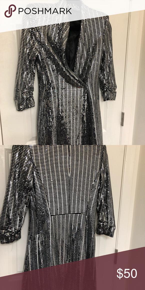3d641820 Zara sequin tuxedo dress/jacket Zara sequin tuxedo/dress size medium. Worn  once. Great condition Zara Dresses Mini