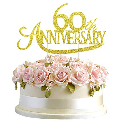 Amazon Com Junucubo Gold Glitter 60th Anniversary Cake Topper Gold Glit Anniversary Cake Wedding Anniversary Party Decorations Golden Wedding Anniversary Cake