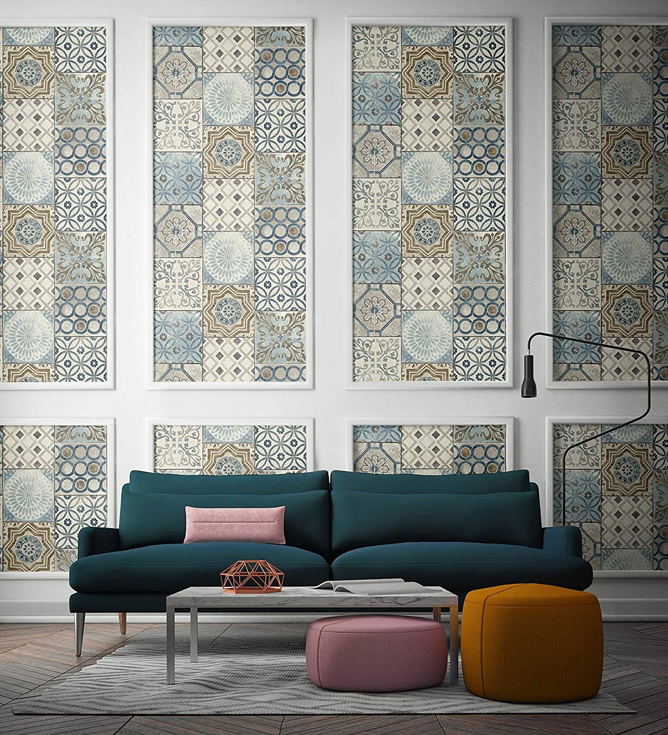 Moroccan Style Mosaic Wallpaper in Blue (Blue, Copper