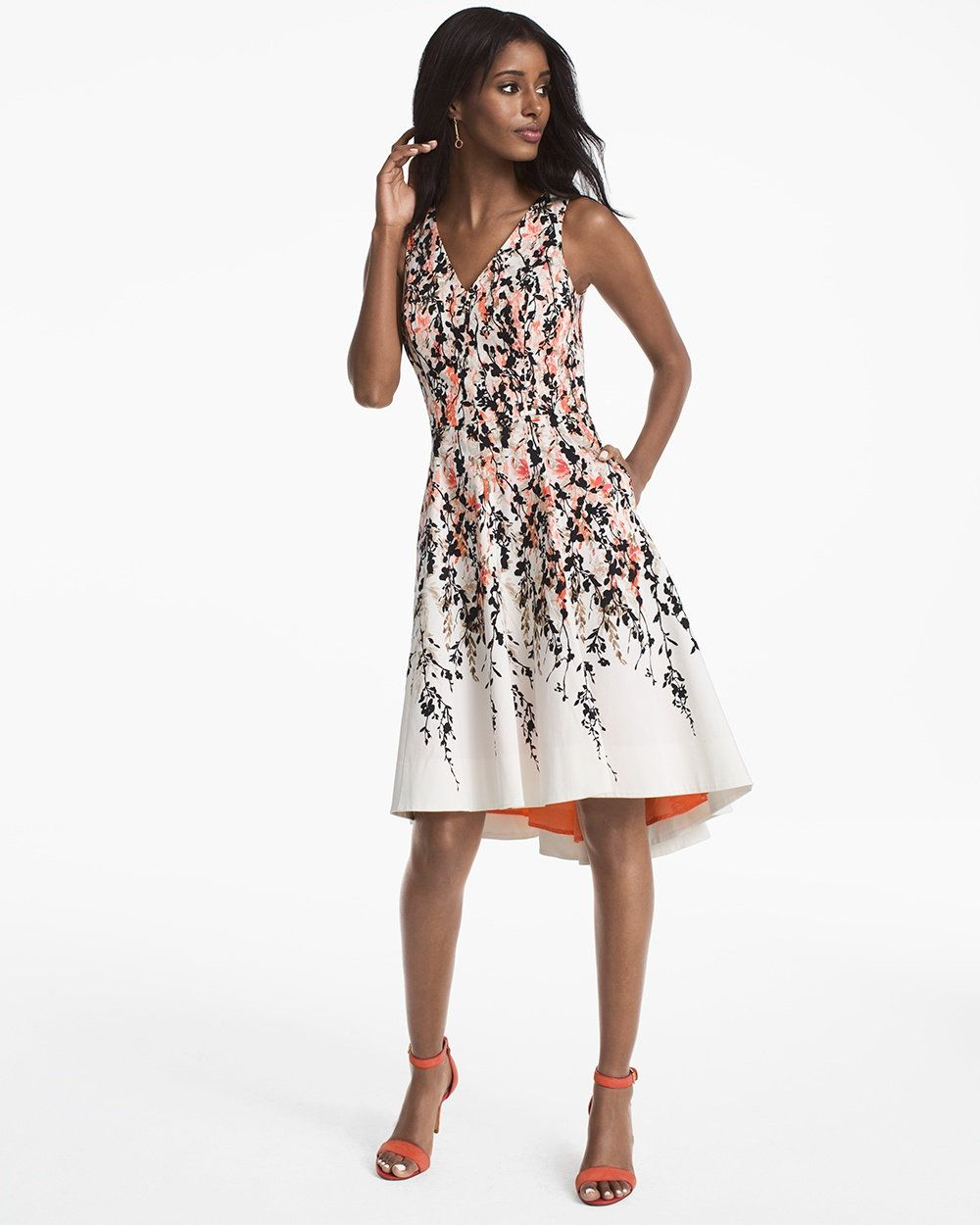 Floral printed hilo fit and flare dress style formal semi