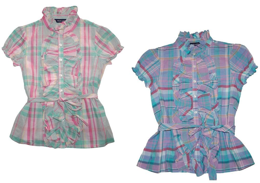 NWT Ralph Lauren Girls Edina Ruffle Plaid Madras Short Sleeves Shirt Blouse 14 #RalphLauren #DressyEveryday