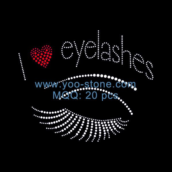 Good Quality I Love Eyelashes Rhinestone Transfer Hair Rhinestone
