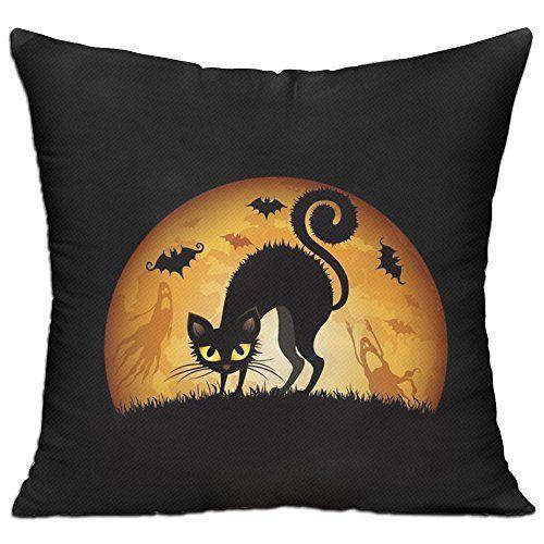 Halloween Decoration Black Cat Ghost Bat Printing Cotton Throw - halloween decorations black cat