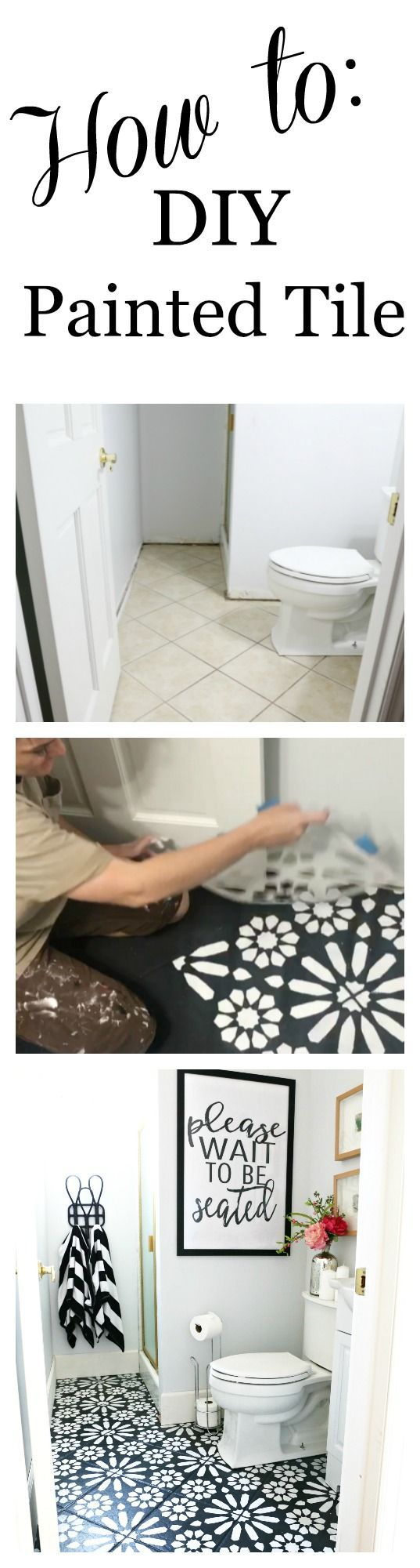 Modern ranch reno half bathroom flooring done cheap and easy our how to diy painted floor tile step by step tutorial on how to paint dailygadgetfo Gallery
