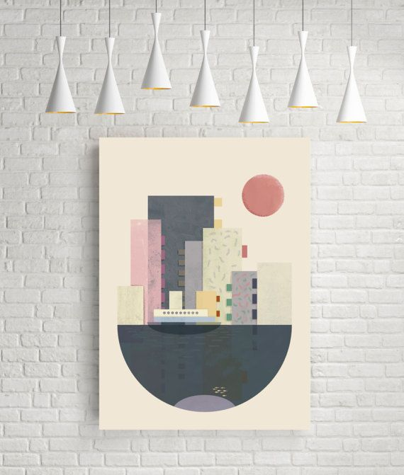 Geometric Print Geometric Wall Art Geometric Art By FLATOWL