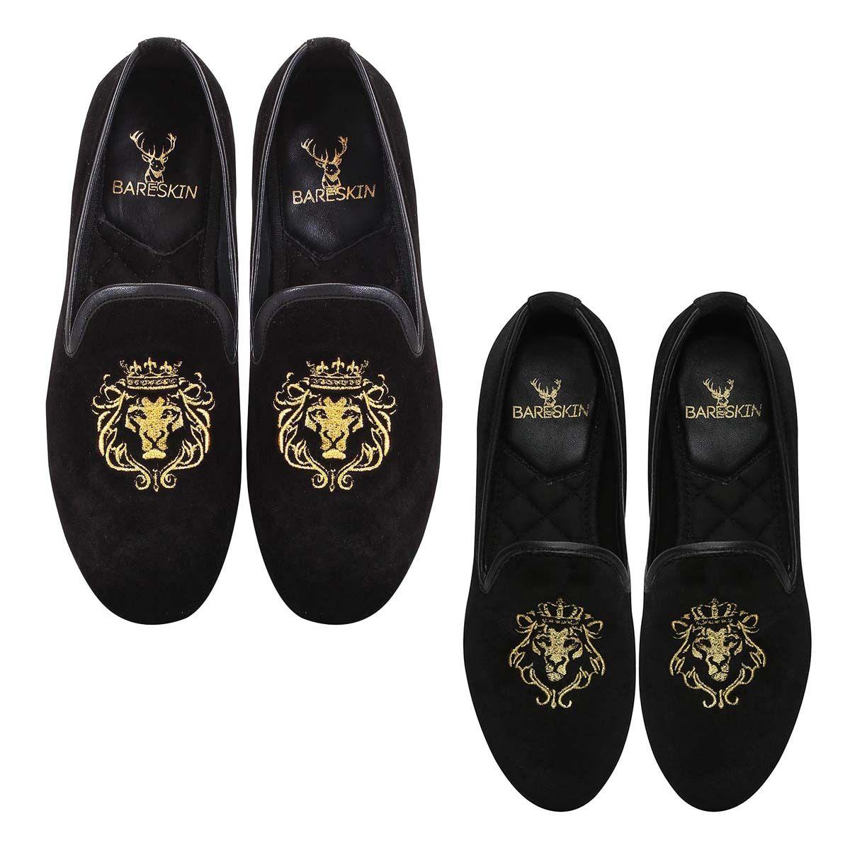 acc23e2c8 BUY COMBO OF BARESKIN BLACK COLOUR VELVET SLIP-ON WITH GOLDEN LION KING EMBROIDERY  FOR MEN AND WOMEN