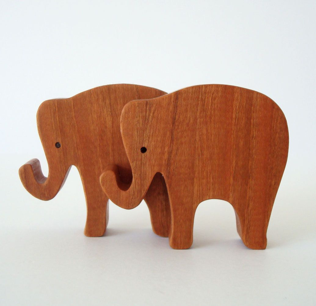 Toy Elephants Wooden Miniature Noah's Ark Animals Zoo Play Set Hand Cut Scroll Saw. $8.00, via Etsy.