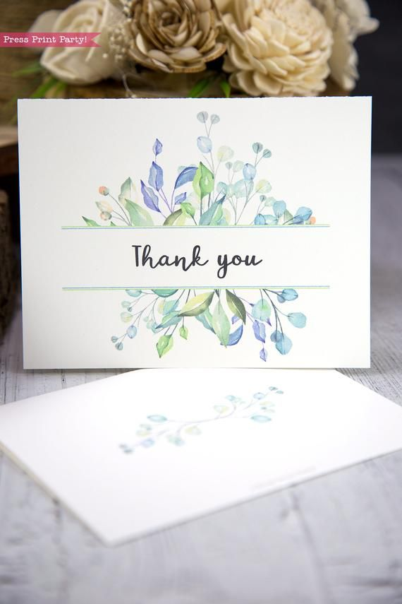 Photo of Thank You Cards Custom Set, Greenery Watercolor-Press Print Party!