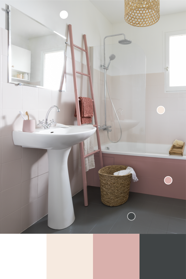 salle de bains rose et gris