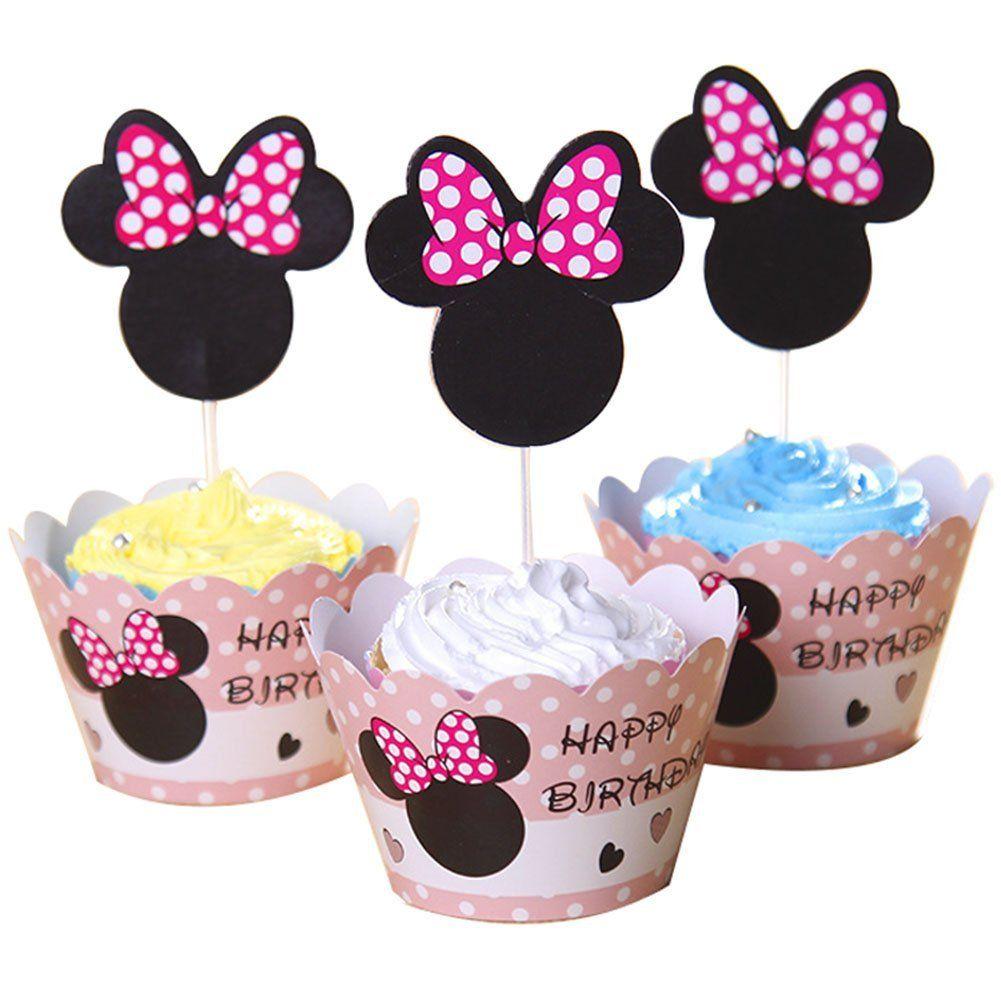 BETOP HOUSE Set of 1 Dozen Mickey Mouse Minnie Cupcake Mufiin